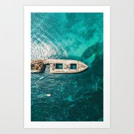 Ay Ay Captain, Aerial Print, Shipwreck Print, Art Print, Modern Wall Art, Sea Print, Ocean Print Art Print