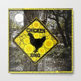 Chicken Crossing Metal Print