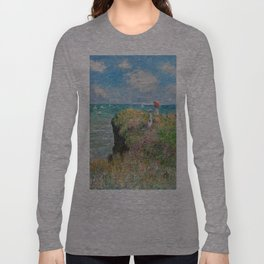 1882-Claude Monet-Cliff Walk at Pourville-66 x 82 Long Sleeve T-shirt