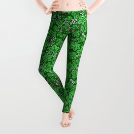 Art Nouveau Strawberries and Leaves, Emerald Green Leggings