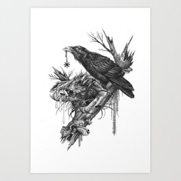 Wolf Skull and Raven. Art Print