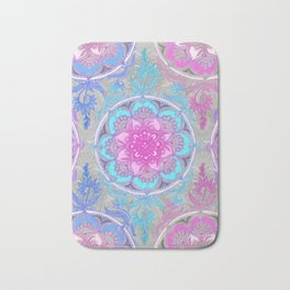 Pink, Purple and Turquoise Super Boho Doodle Medallions Bath Mat