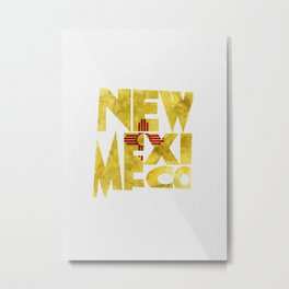 New Mexico Typographic Flag Map Art Metal Print