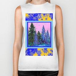 YELLOW-BLUE WINTER SNOWFLAKES  FOREST TREE  ART Biker Tank