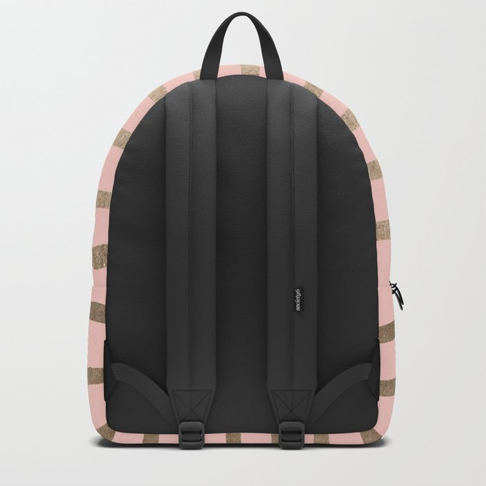 Abstract Drawn Stripes Gold Coral Light Pink Backpack