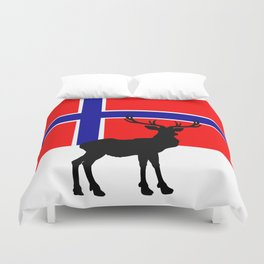 Norwegian Flag with Caribou Silhouette Duvet Cover