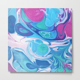 Pink Blue Marble 'Sarah' Metal Print