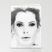 sandra dieckmann Stationery Cards featuring Sandra Bullock by Paint the Moment