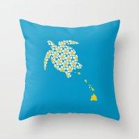 hawaii Throw Pillows featuring Hawaii by Erik Sandi Satresa