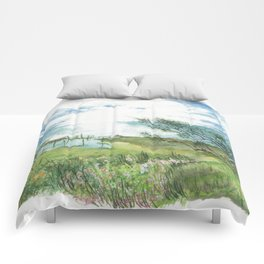 Summer by a lake Comforters