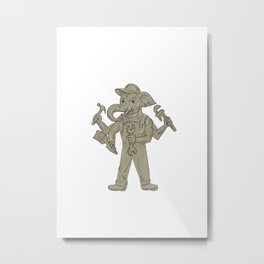 Ganesha Elephant Handyman Tools Drawing Metal Print