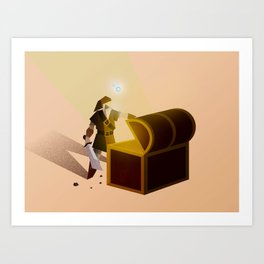 Link opening a chest Art Print