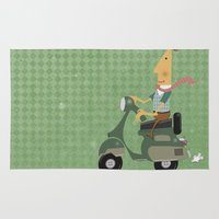 vespa Area & Throw Rugs featuring Vespa by Aguinaldo Goncalves