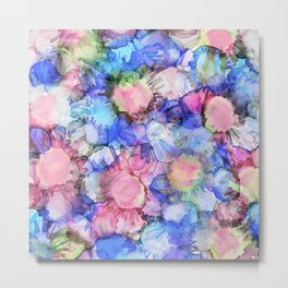 Alcohol Ink Flower Pattern Metal Print