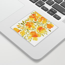 Watercolor California poppies (Quad set, #4) Sticker
