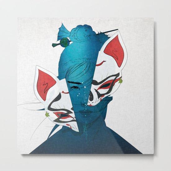 Fox Mask Metal Print