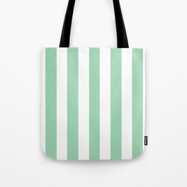 Turquoise green - solid color - white vertical lines pattern Tote Bag