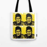 neymar Tote Bags featuring Neymar by yamini