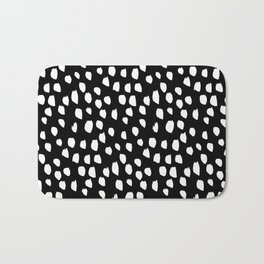 Handdrawn drops and dots on black-Mix & Match with Simplicty of life Bath Mat