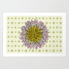 Dandelion and Bees Art Print