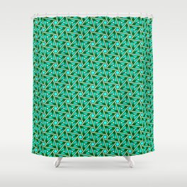 Turquoise Triangles Forest Green Hexagons on Butter Cream Yellow Southwestern Design Pattern Shower Curtain