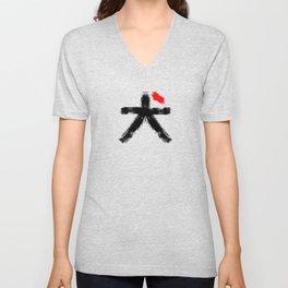 Hieroglyph symbol Japan word Dog Unisex V-Neck