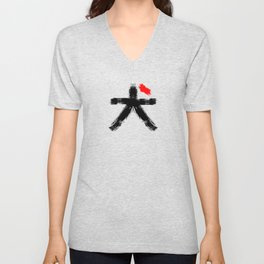 Hieroglyph symbol Japan word Dog Unisex V-Neck