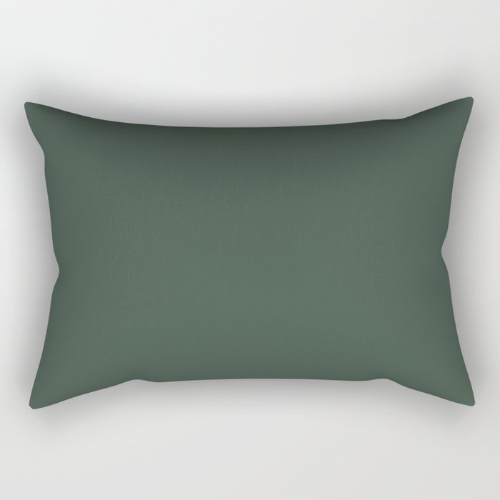 Sherwin Williams Trending Colors of 2019 Dark Hunter Green SW 0041 Solid Color Rectangular Pillow