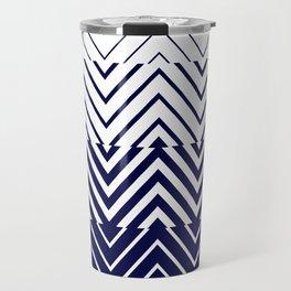 Chevron Ombre Stencil | navy white Travel Mug
