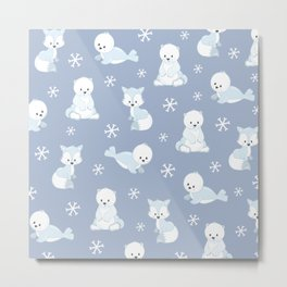 ARCTIC FRIENDS (blue) Metal Print
