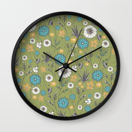 Emma_Wildflowers in Avocado Green Wall Clock
