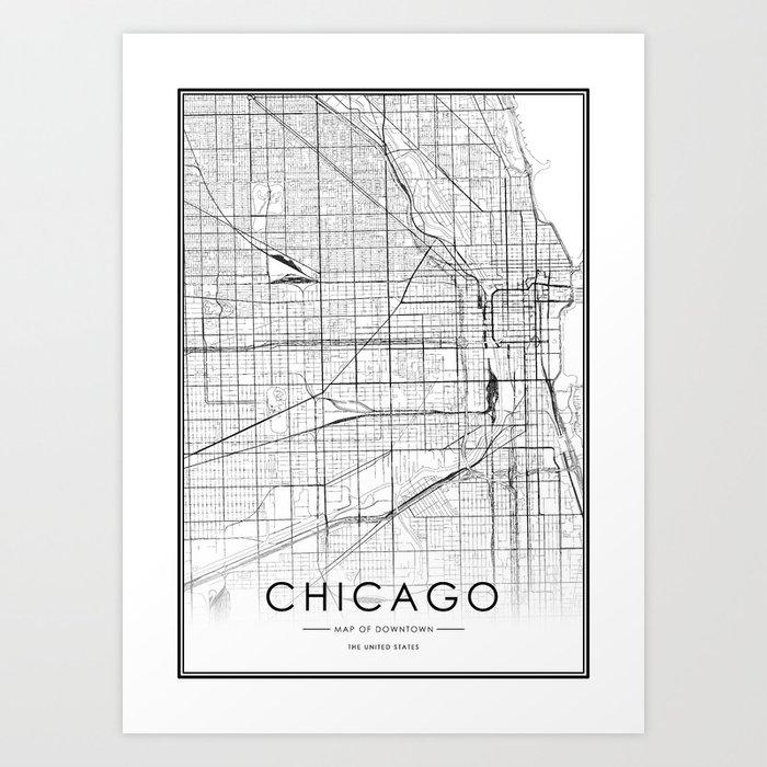 Chicago City Map United States White and Black Kunstdrucke