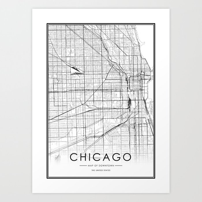 Chicago City Map United States White and Black Art Print by victorialyu
