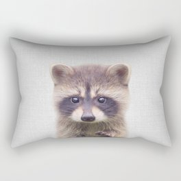 Raccoon - Colorful Rectangular Pillow