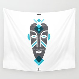 African Mask Blue Wall Tapestry