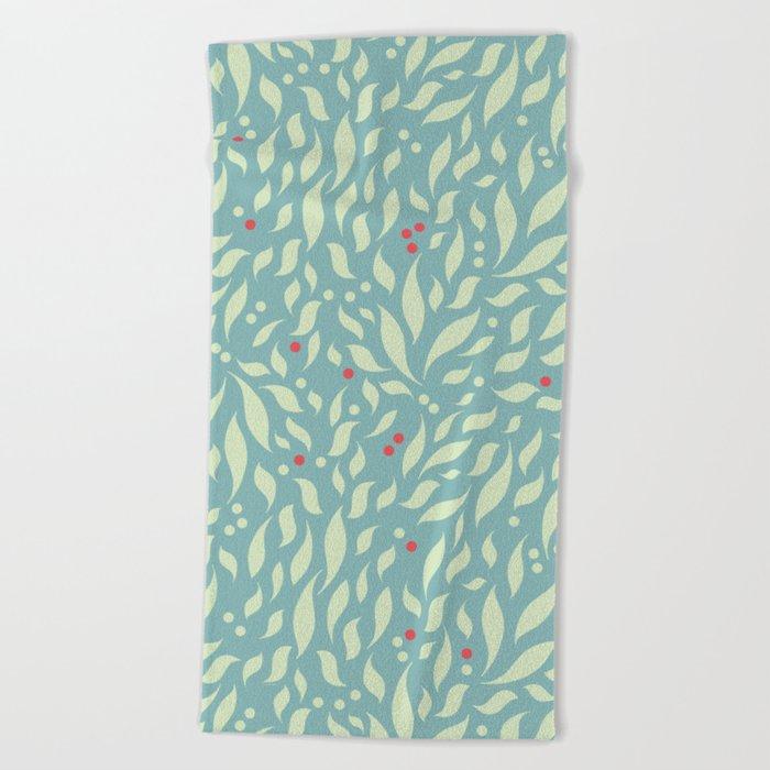 Leaves and Berries Beach Towel