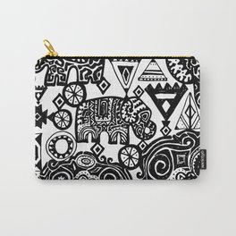 Beautiful boho pattern Indian Elephant with ornamental. Hand drawn ethnic tribal decorated Elephant Carry-All Pouch