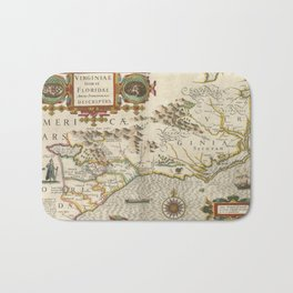 Vintage Map of North Carolina (1638) Bath Mat