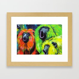 Urban Street Art: Screaming Fluorescent Monkeys Framed Art Print
