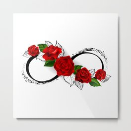 Infinity Symbol with Red Roses Metal Print