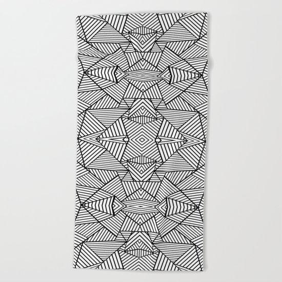 Abstract Mirror Black on White Beach Towel