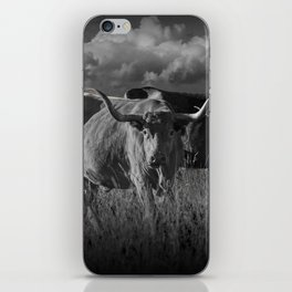 Texas Longhorn Steers under a Cloudy Sky in Black & White iPhone Skin