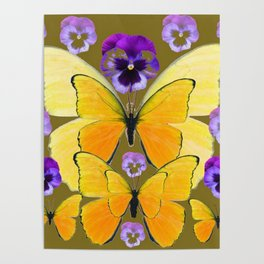 SPRING PURPLE PANSY FLOWERS & YELLOW BUTTERFLIES GARDEN Poster