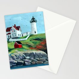 Nubble LightHouse Painting Stationery Cards