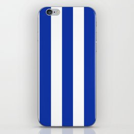 Egyptian blue - solid color - white vertical lines pattern iPhone Skin