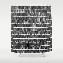 Infinite Lines Pattern - Black Shower Curtain