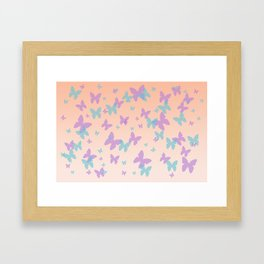 Floral Lavender Cornflower Blue Butterflies Design Framed Art Print