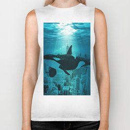 Orcas in Manhattan Biker Tank