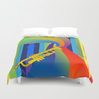trumpet Duvet Covers featuring Rainbow Trumpet by Nathalie Lawhead
