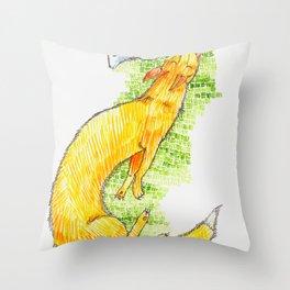 Fox Chasing Rabbit Throw Pillow